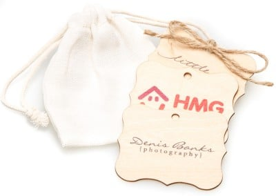 Personalised custom printed wooden tags