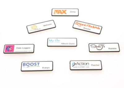 name badge, company logo badge