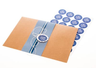 sticker seals, banding wrap, kraft envelope
