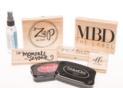 rubber stamp, logo stamp, woodmounted stamp