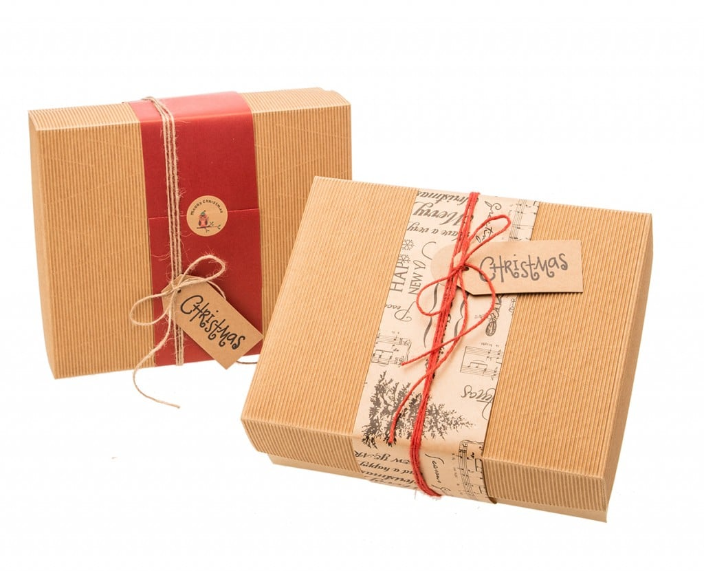Christmas hampers wrapped
