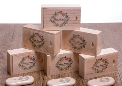 Wooden timber flash drive and matching box with color printing