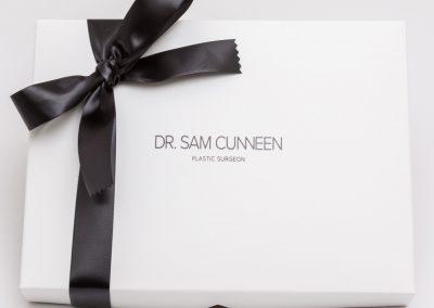 Black foil print on white gift box
